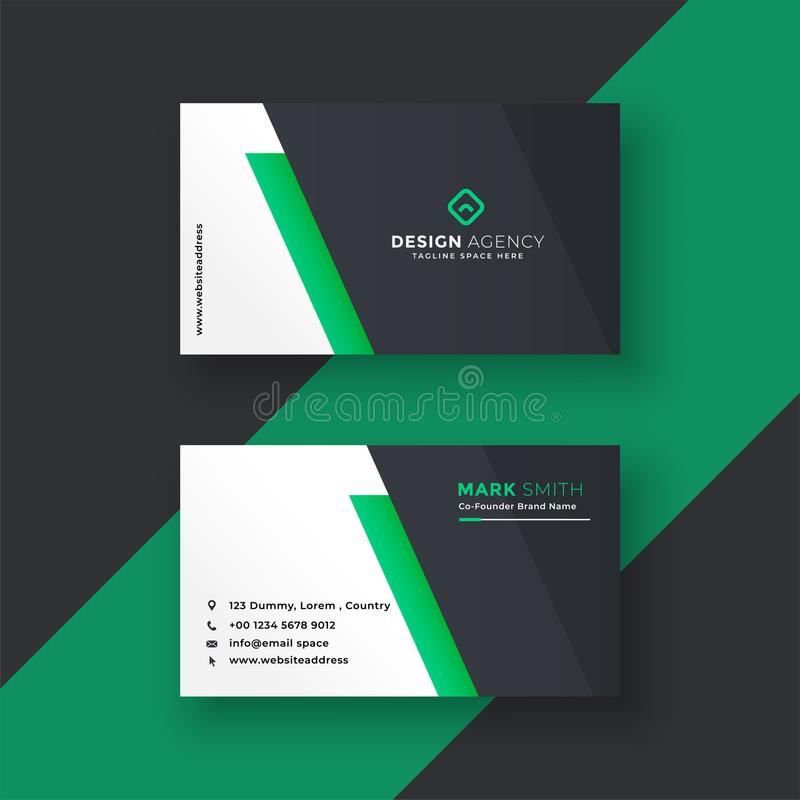 Green business card design in minimal style royalty free illustration