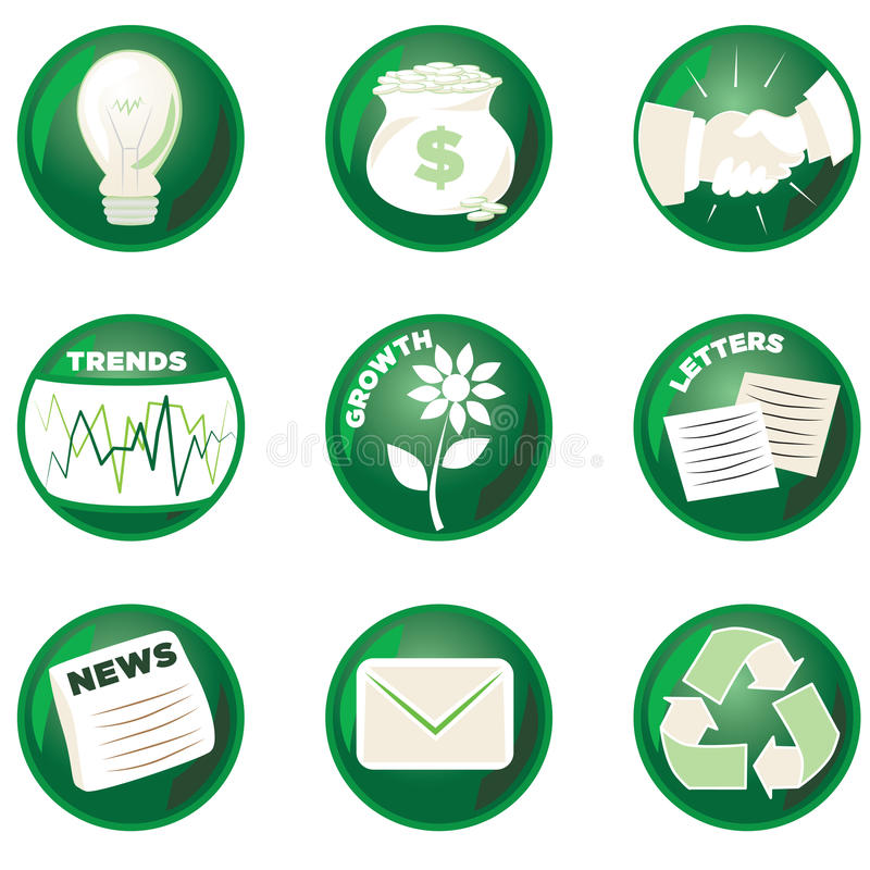 Green Business Icons. Shiny Green Business Icons for the Environmentally Conscious vector illustration