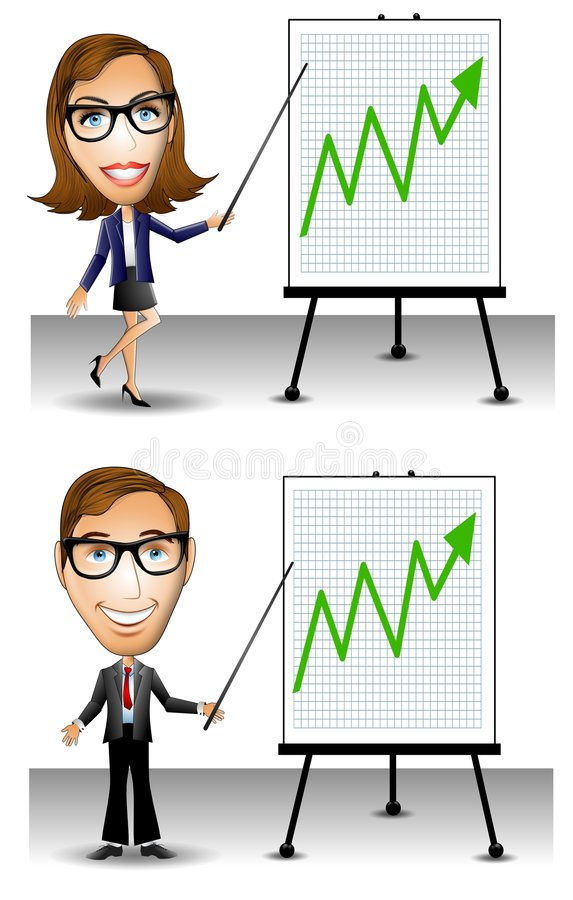 Green Business Profits Going Up royalty free illustration