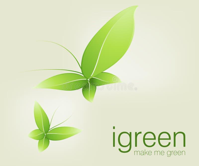 Green butterflies vector illustration