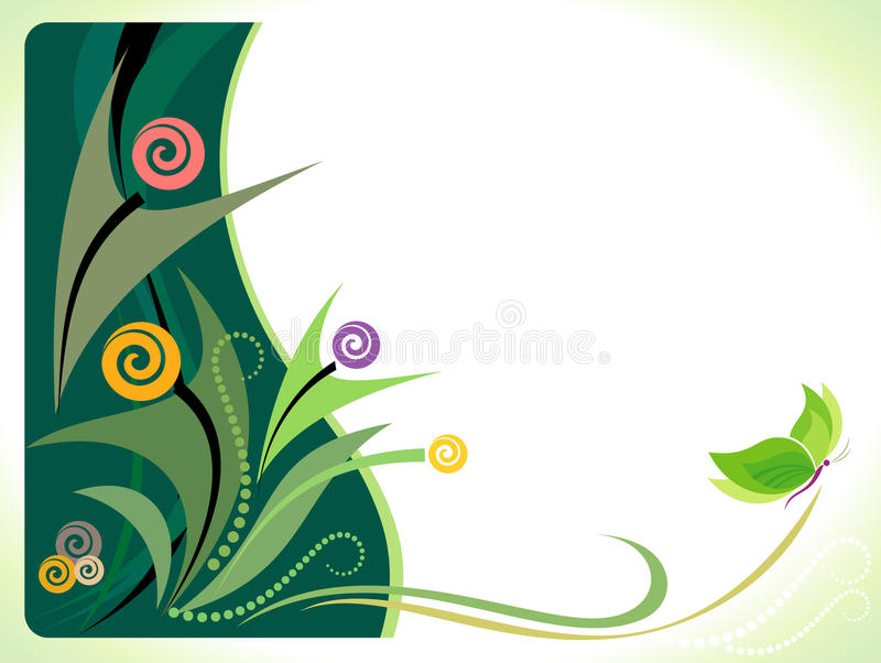 Green Butterfly Background royalty free illustration