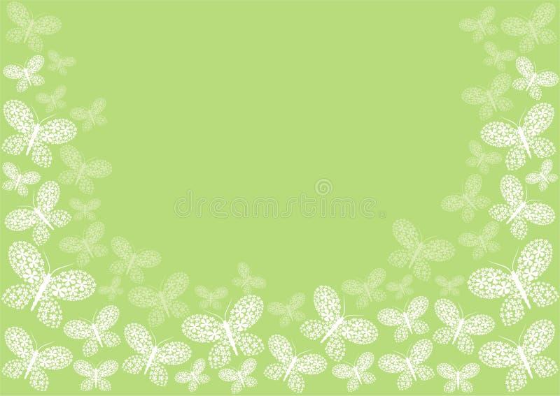 Green butterfly border stock illustration