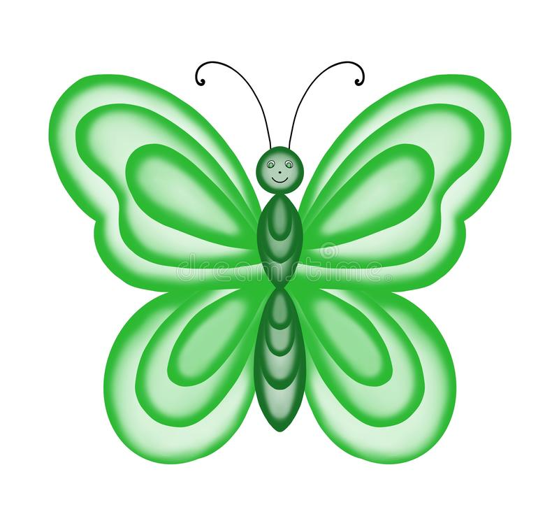 Bright green butterfly with transparent wings on white background. stock illustration
