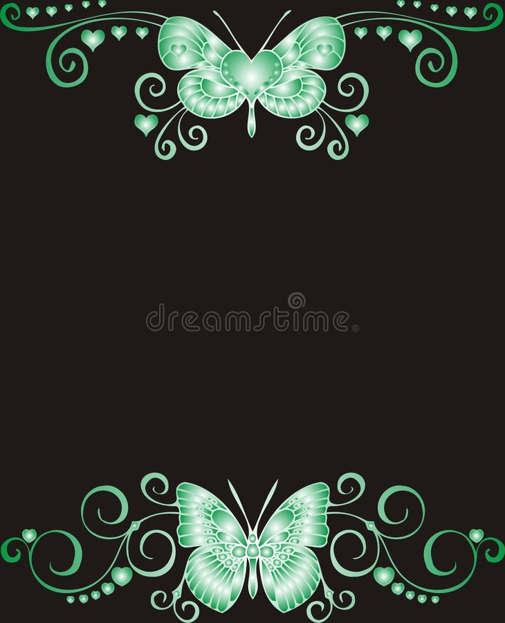 Green Butterfly frame for greeting card - royalty free illustration