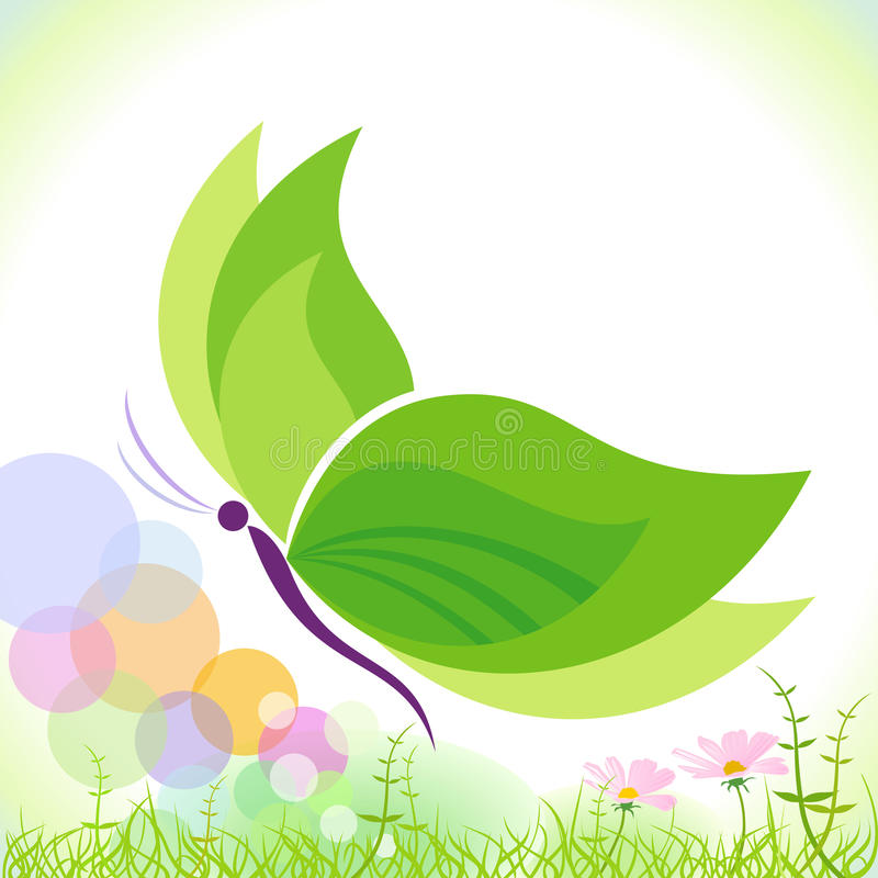 Green Butterfly - Save our planet stock illustration