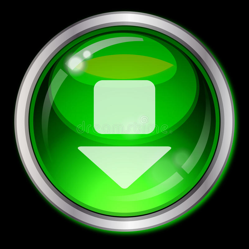 Green button with arrow royalty free stock image