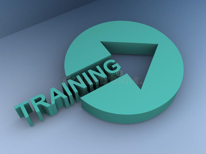 Green button marked training royalty free illustration