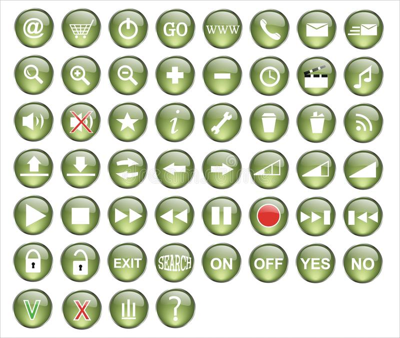 Green Button Pack Royalty Free Stock Images