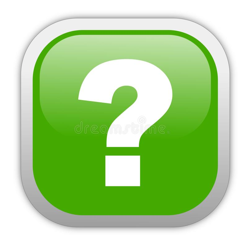 Green button with question mark stock illustration