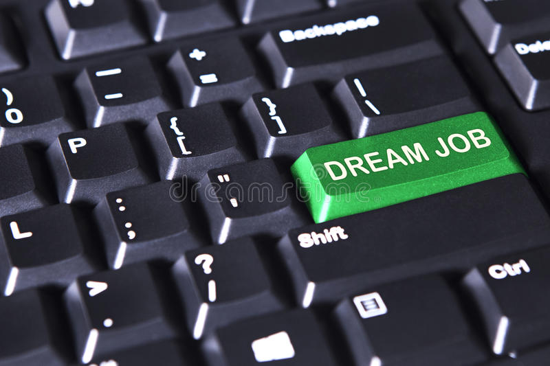 Green button with text of dream job. Picture of green button with text of dream job on the computer keyboard stock image