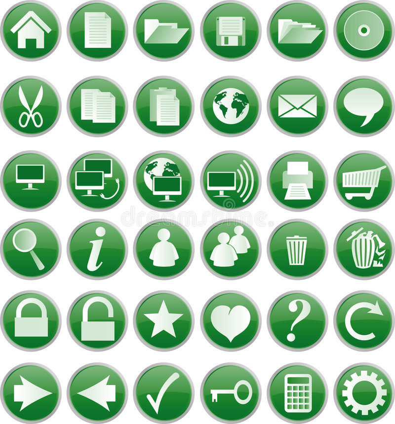 Download Green buttons stock vector. Image of graphic, globe, collection - 6688005