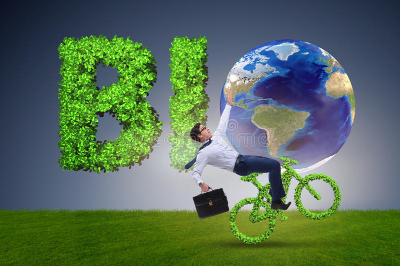 The green bycycle in environmentally friendly transportation concept. Green bycycle in environmentally friendly transportation concept royalty free stock image