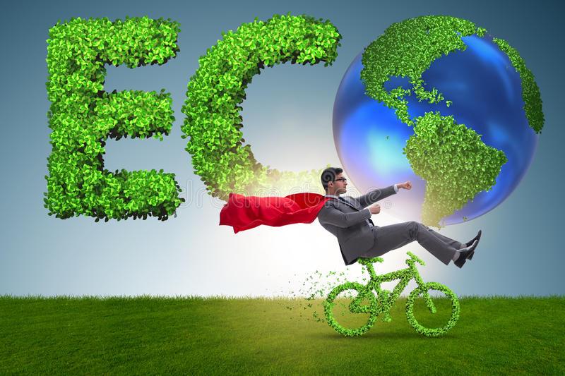The green bycycle in environmentally friendly transportation concept. Green bycycle in environmentally friendly transportation concept royalty free stock photo