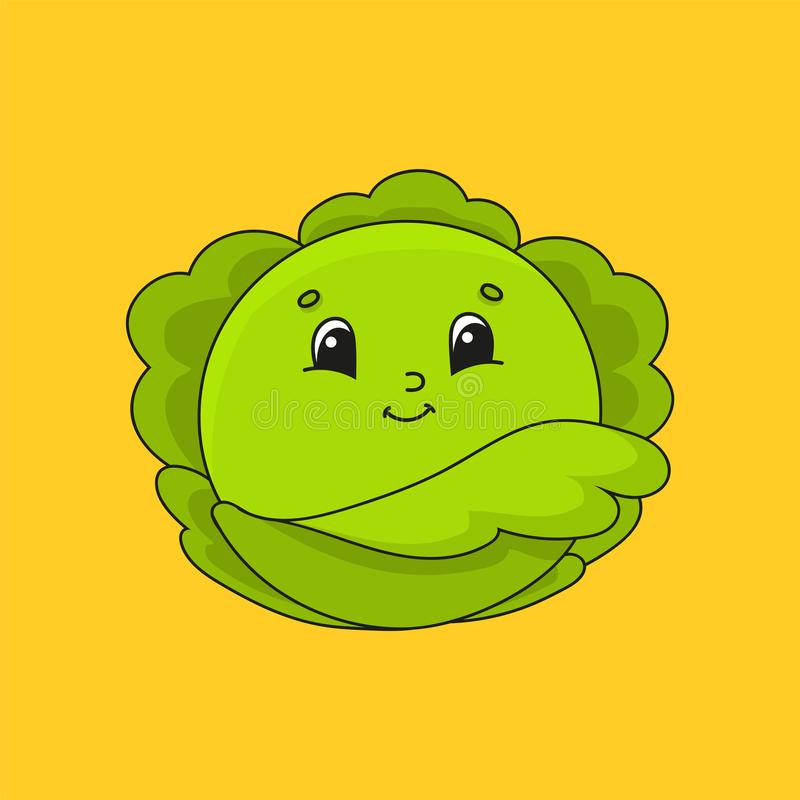 Green cabbage. Cute character. Colorful vector illustration. Cartoon style. Isolated on white background. Design element. Template royalty free illustration