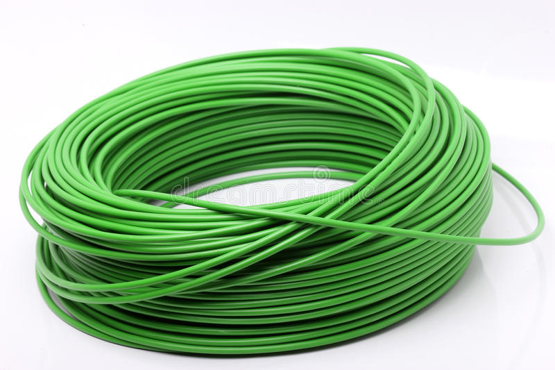 Green cable on white background royalty free stock image