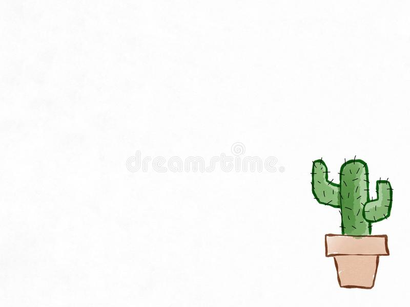 Green cactus in the brown pot drawing isolate on white background. Digital art painting vector illustration