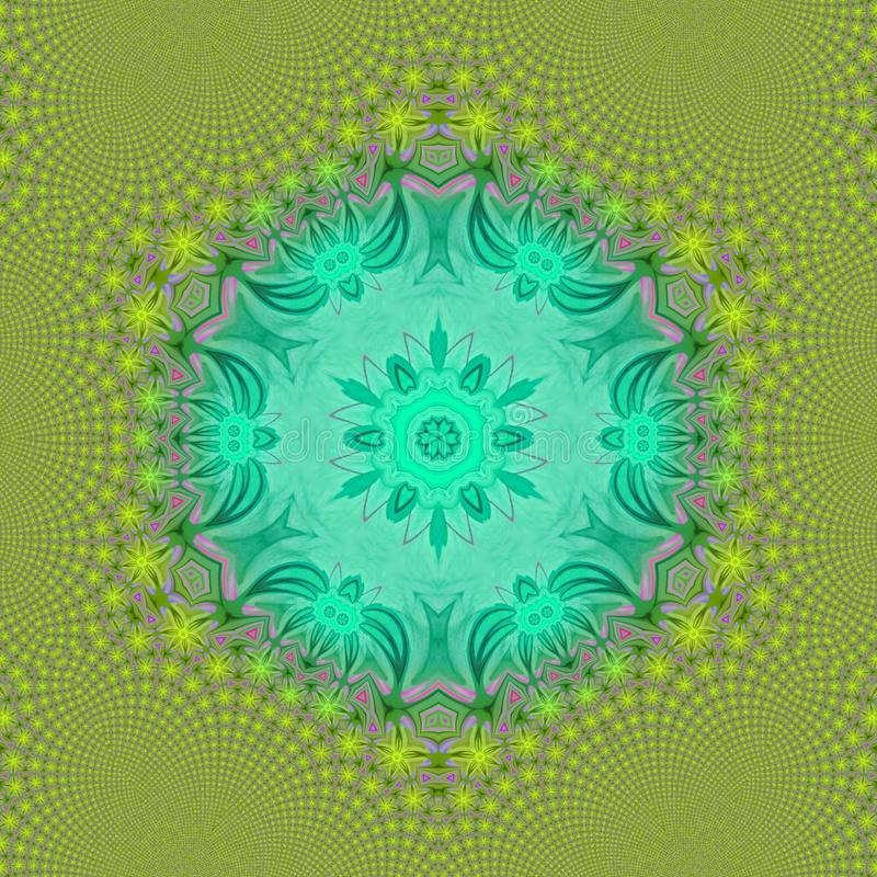 Green caleidoscope digital art with cartoon faces royalty free illustration