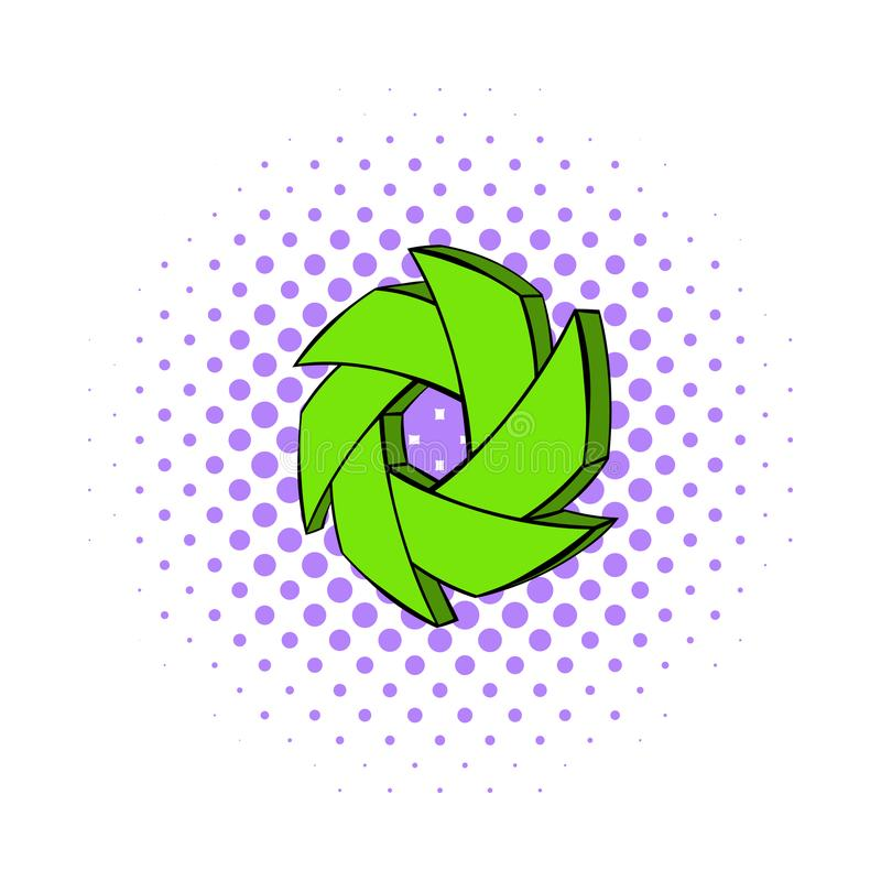Green camera aperture icon, comics style. Green camera aperture icon in comics style on a white background royalty free illustration