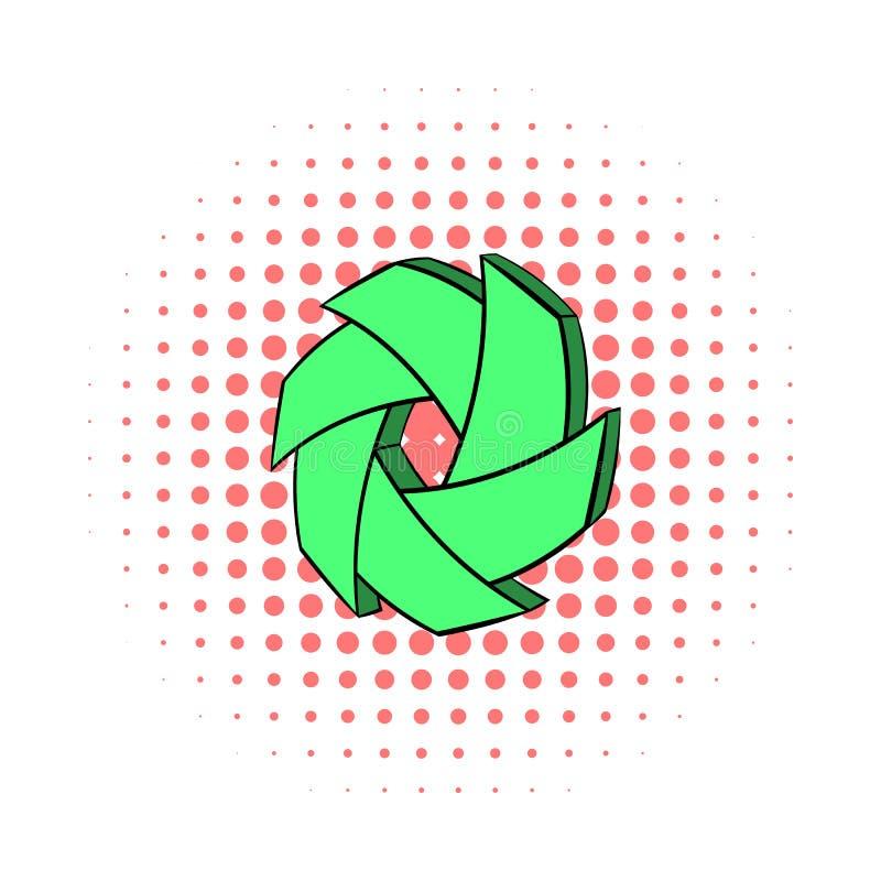 Green camera aperture icon, comics style. Green camera aperture icon in comics style on a white background vector illustration