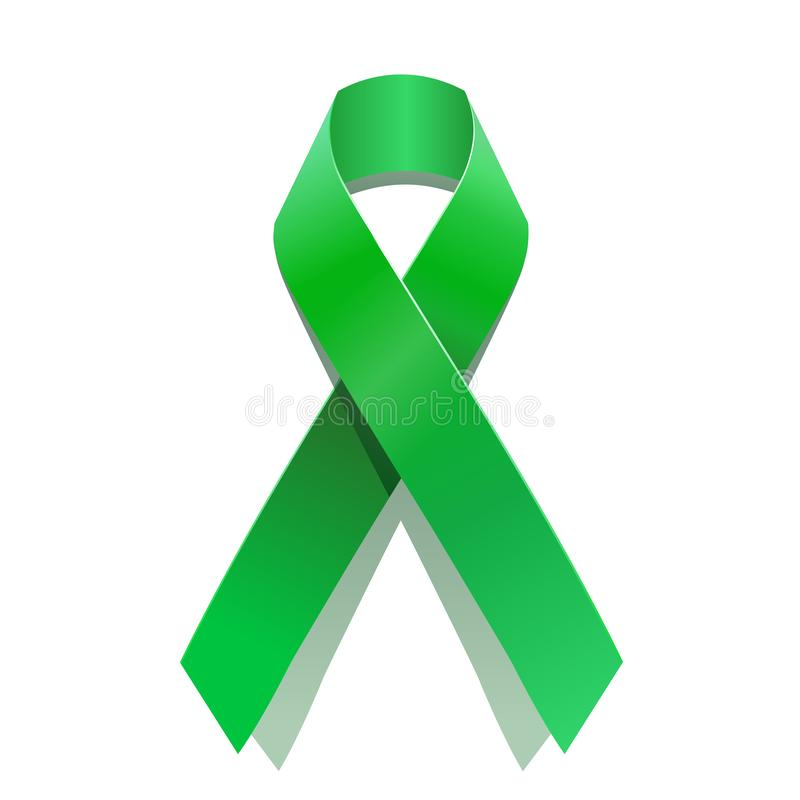 Green cancer awareness ribbon for many medical conditions and diseases . World Health Day stock illustration