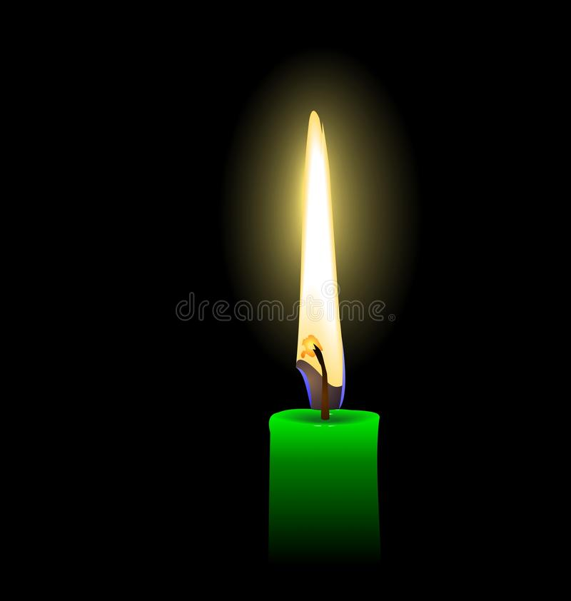 Download Green candle stock vector. Image of abstract, light, love - 15232014