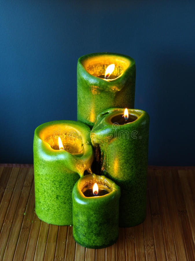 Green candles stock photo