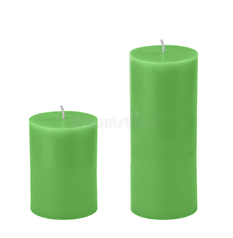 Green candles isolated stock photos