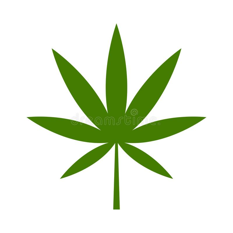 Green cannabis leaf on the white bakground. Herbal cannabis. Hemp leaf symbol. Vector illustration. Green cannabis leaf on the white bakground. Herbal cannabis royalty free illustration