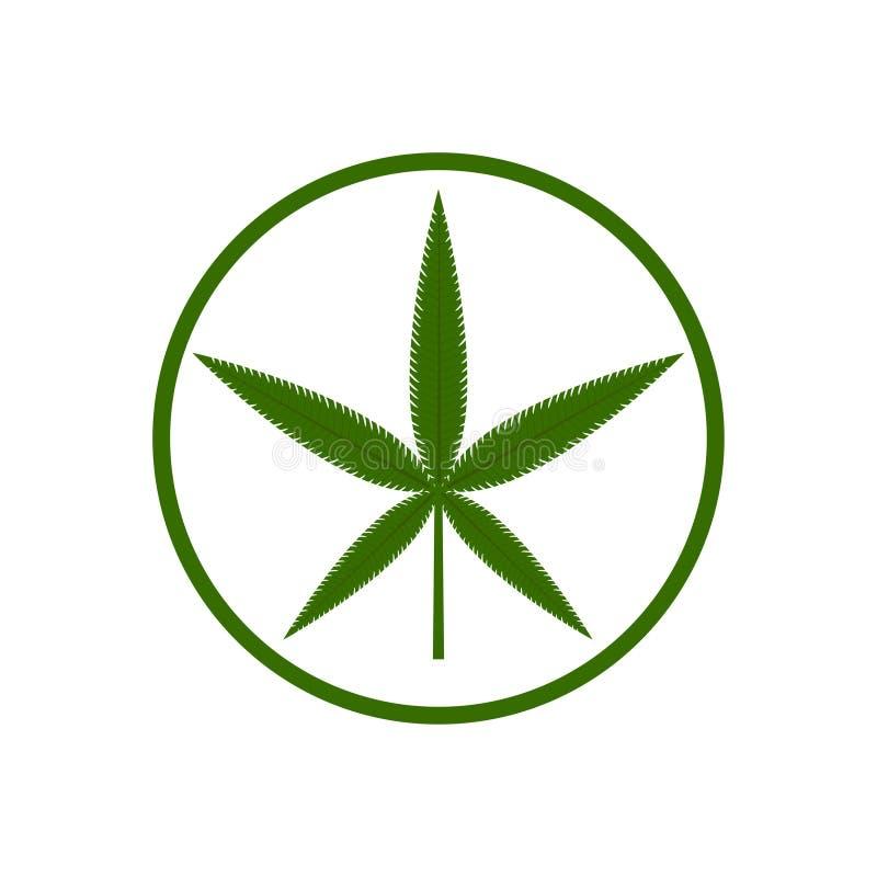 Green cannabis leaf on the white bakground. Herbal cannabis. Hemp leaf symbol. Vector illustration. Green cannabis leaf on the white bakground. Herbal cannabis vector illustration