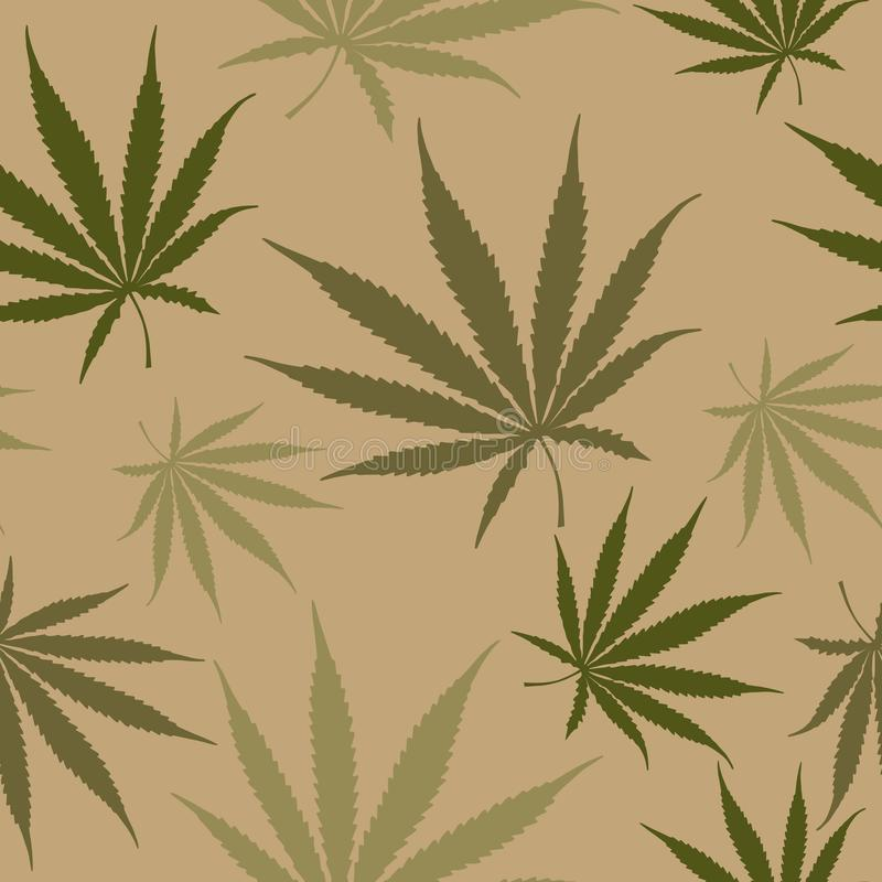 Green Cannabis Leaves Seamless Pattern, Hemp Weed Leaves Surface Pattern, Marijuana Repeat Pattern Background for Textile Design,. Green Cannabis Leaves Seamless stock illustration