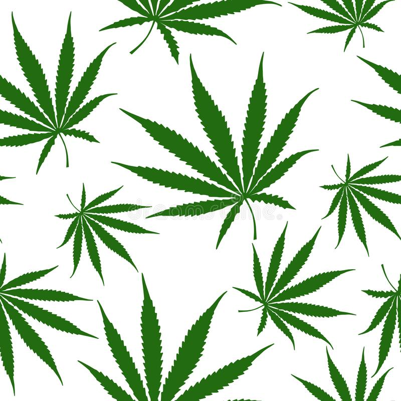 Green Cannabis Leaves Seamless Pattern, Hemp Weed Leaves Surface Pattern, Marijuana Repeat Pattern Background for Textile Design,. Green Cannabis Leaves Seamless royalty free illustration