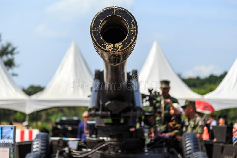 Green cannon of Thai army showing in Children day in Phuket, Thailand. Front of the green cannon of Thai army showing in Children day in Phuket, Thailand stock image