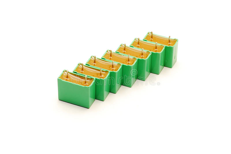Green Capacitors Royalty Free Stock Images