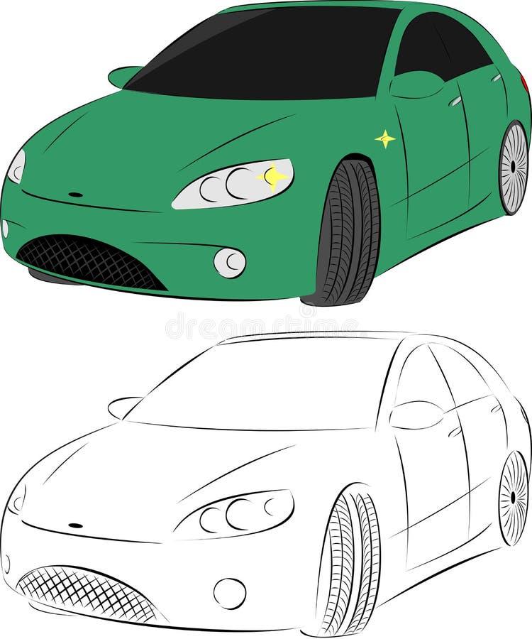 Green car. Illustration and sketch stock illustration
