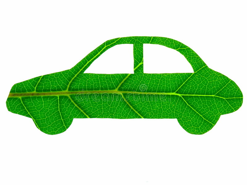 Green Car. The stylised form of an automobile that has been cut from a green leaf - symbolising an eco-friendly vehicle. Isolated over pure white royalty free stock photo