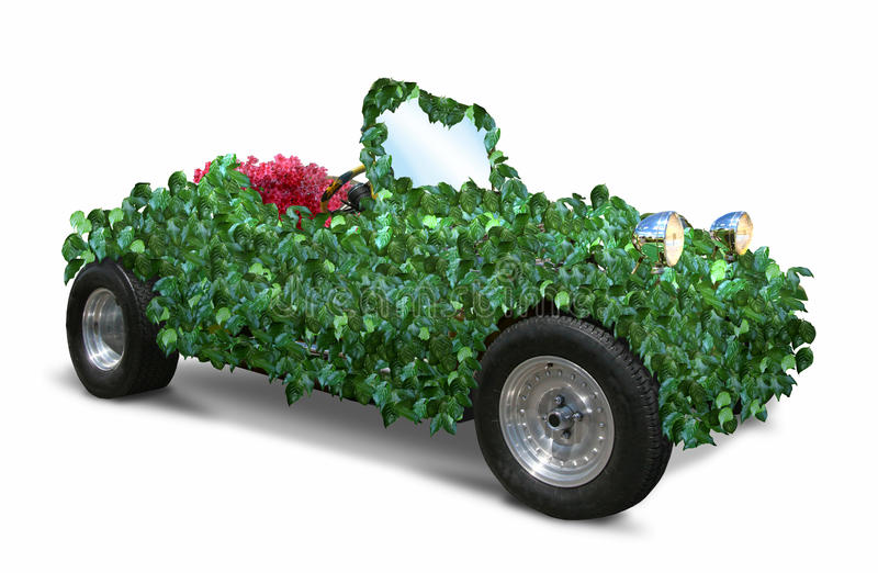 Green car. Roadster car made of green leaves stock image