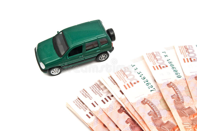 Green car and banknotes. On white background stock images