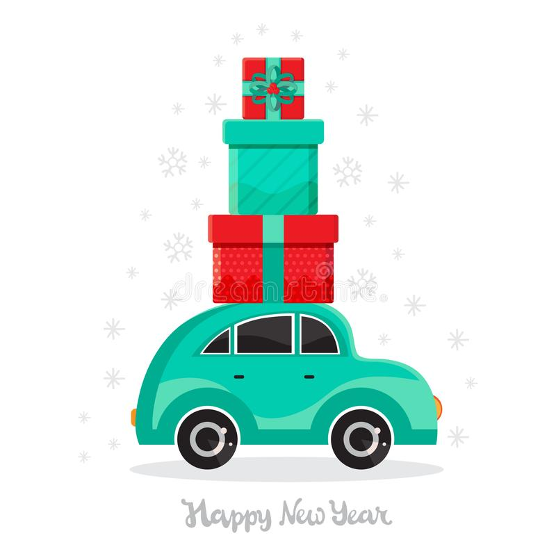 Green car carries gifts. New year and Christmas card in vector. Cartoon toy car. Flat design vector festive holiday design element vector illustration