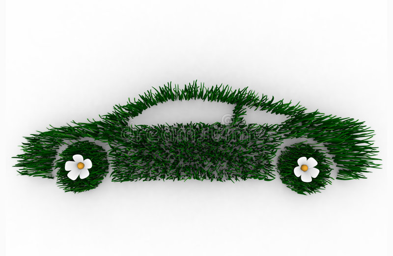 Green Car Made of Grass. Environmentally friendly car 3D render composed of blades of grass, symbolizing the green movement royalty free illustration