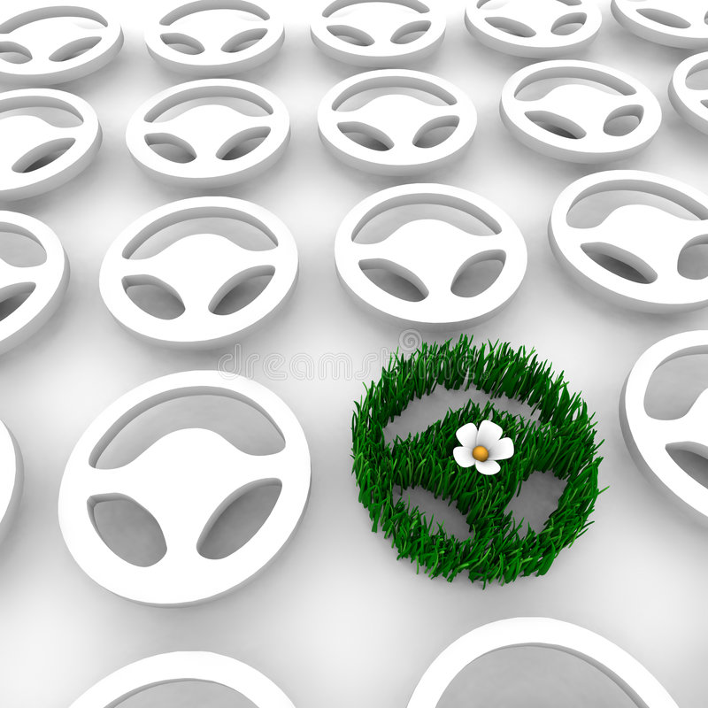 Green Car Steering Wheel AMong Many Others. A steering wheel made of grass, symbolizing the green car movement, stands out among many standard steering wheels stock illustration