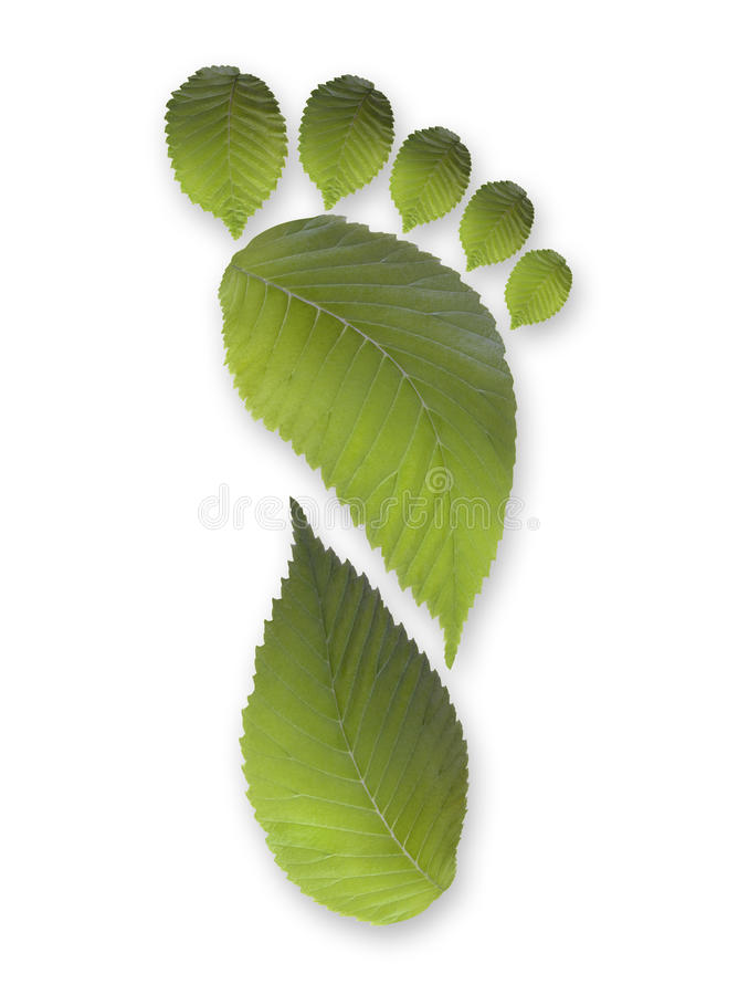 Green Carbon Leaf Footprint. Concept for green carbon leaf footprint royalty free stock images