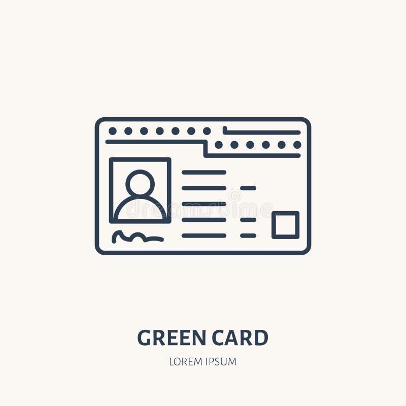 Green Card, flache Linie Ikone des Identitätsvektors Identifikations-Dokumentenzeichen stock abbildung