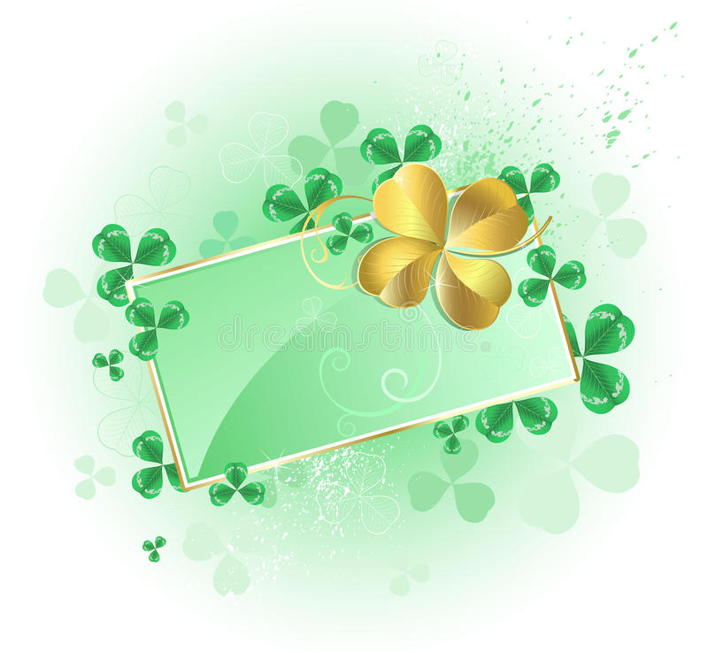 Green card with gold Four Leaf Clover royalty free illustration