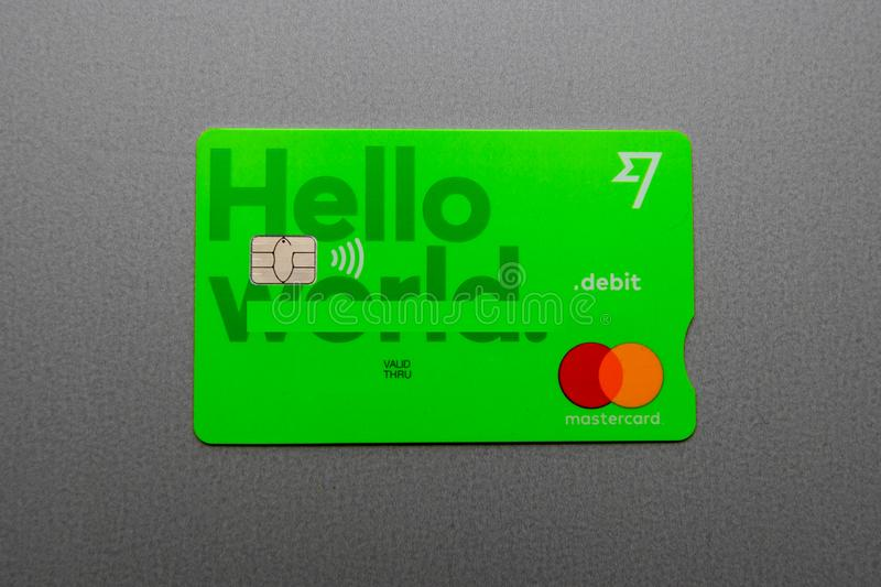 Green card issued by TransferWise peer-to-peer card company stock images