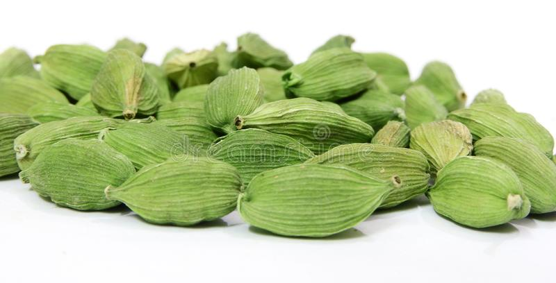Green cardamom Indian spice on white background. royalty free stock photos