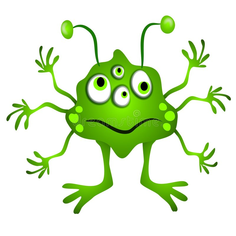 Green Cartoon Alien Clipart stock illustration