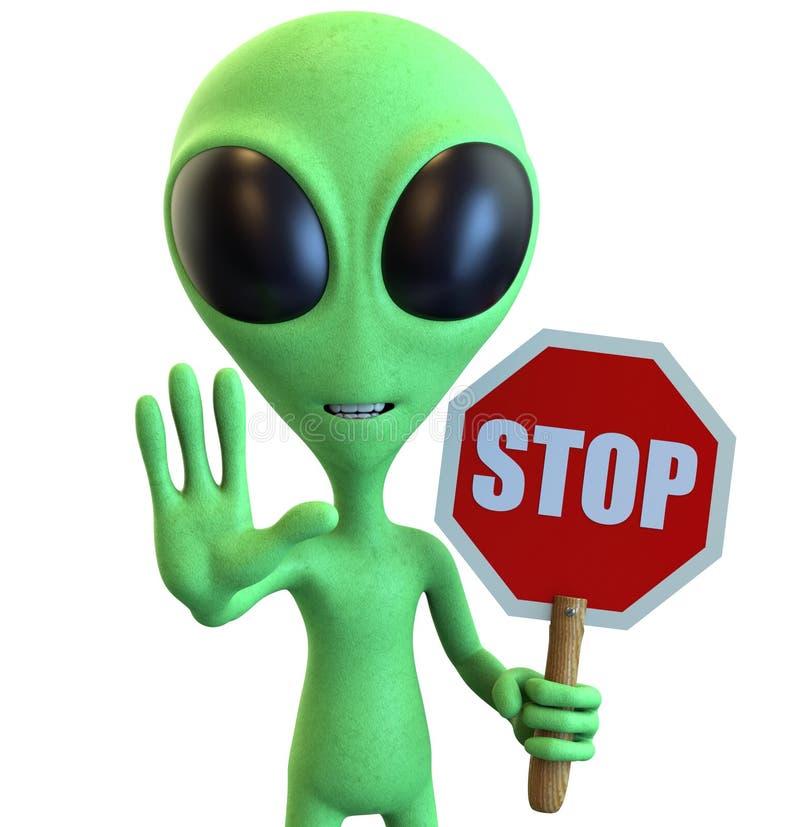 Green Cartoon Alien Holding Stop Sign royalty free illustration
