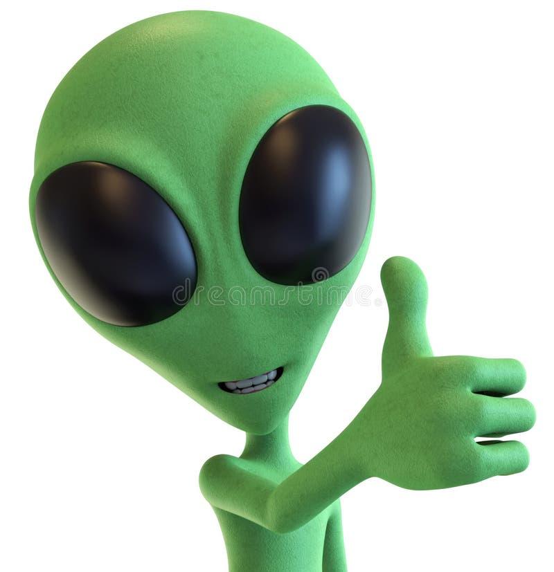 Green Cartoon Alien Holding Thump Up stock illustration