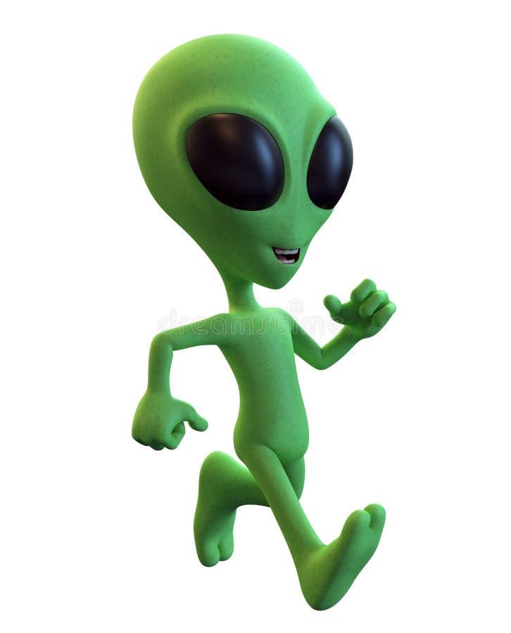 Green Cartoon Alien Running stock illustration