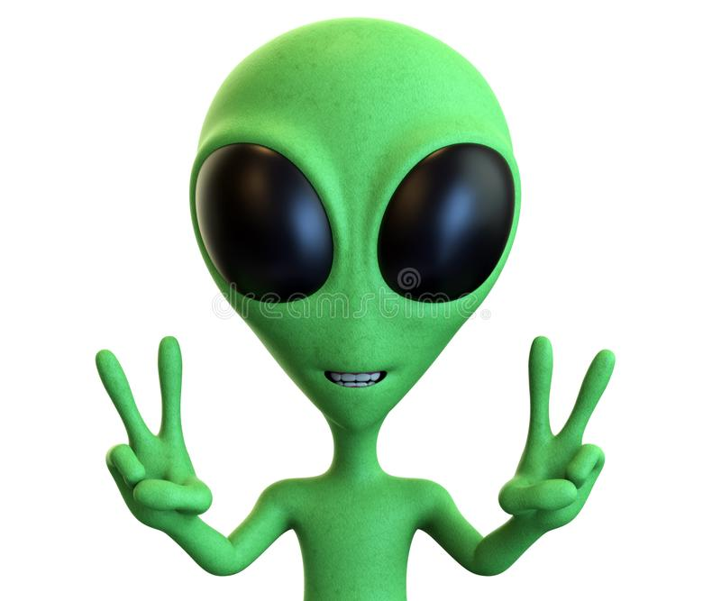 Green Cartoon Alien Showing Dual Peace Signs royalty free illustration